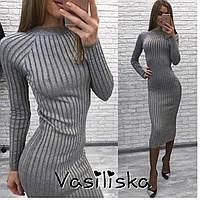 Длинное серое осеннее женское платье ан-10662-3