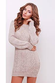 Теплое вязанное платье выше колен  капучино