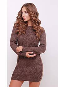 Теплое вязанное платье выше колен коричневое