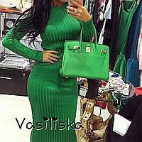 Длинное зеленое осеннее женское платье ан-10662-4