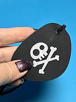 Пиратская Повязка на Глаз Черная с Рисунком Череп и Кости