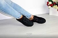 Размер 37 и 40 маломерят! Легкие черные женские кеды на широких шнурках лентах