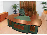 Стол руководителя Антарес кожа зеленая