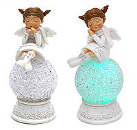 "Декоративная статуэтка ""Девочка-ангел на шаре"" с LED, 14 см 2 вида"
