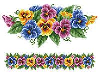 """Схема для вишивки на водорозчинному флізелін """"Візерунок квіти"""""""