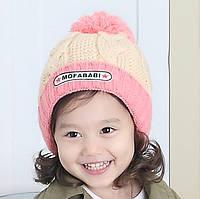 Шапочка дитяча зимова з бубоном для дівчинки