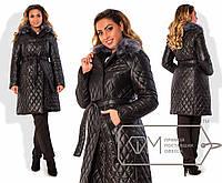 Пальто  из стёганой плащёвки на подкладе со съёмным воротником размер48,50,52,54