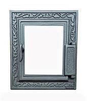 Печные дверцы со стеклом Н1616 (355x325), фото 1