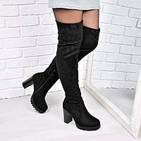 Сапоги женские ботфорты Elza черные 3707, обувь днепр