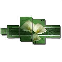 Модульная картина на стену из 5 частей БЕЛЫЕ КАЛЛЫ на зелёном фоне