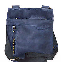 Мужская кожаная сумка планшет Mk13 синий матовый