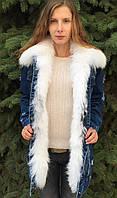 Куртка джинсовка женская с мехом полярной лисы, фото 1