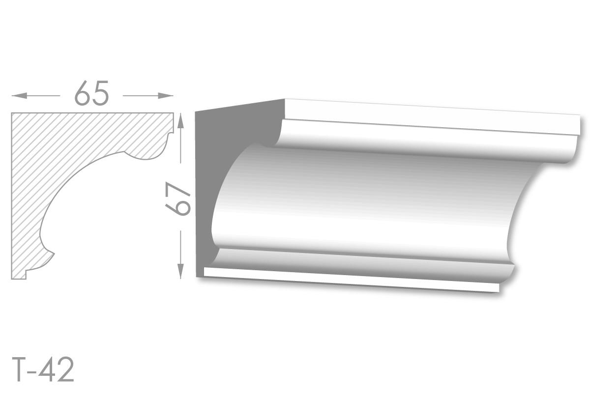Карниз с гладким профилем, молдинг потолочный из гипса т-42