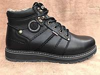 Зимние кожаные мужские ботинки KRISTAN из натуральной толстой кожи и натурального меха