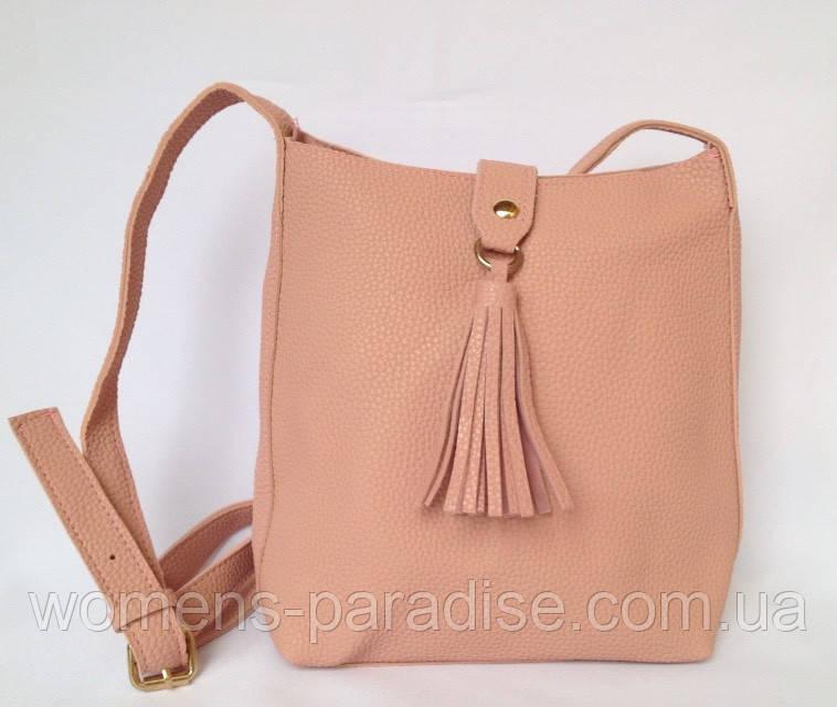 a918fa5f6d2f Сумка женская с ремешком через плечо на молнии и декоративной кистью нежно  розового цвета - Женский