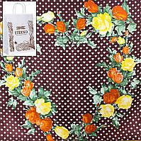 Платок большой ETERNO Платок женский шелковый 87*86 см ETERNO (ЭТЕРНО) ES0209-17-brown