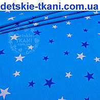 Бязь польская с звёздами разной величины синего и белого цвета на тёмно-бирюзовом фоне (934а)