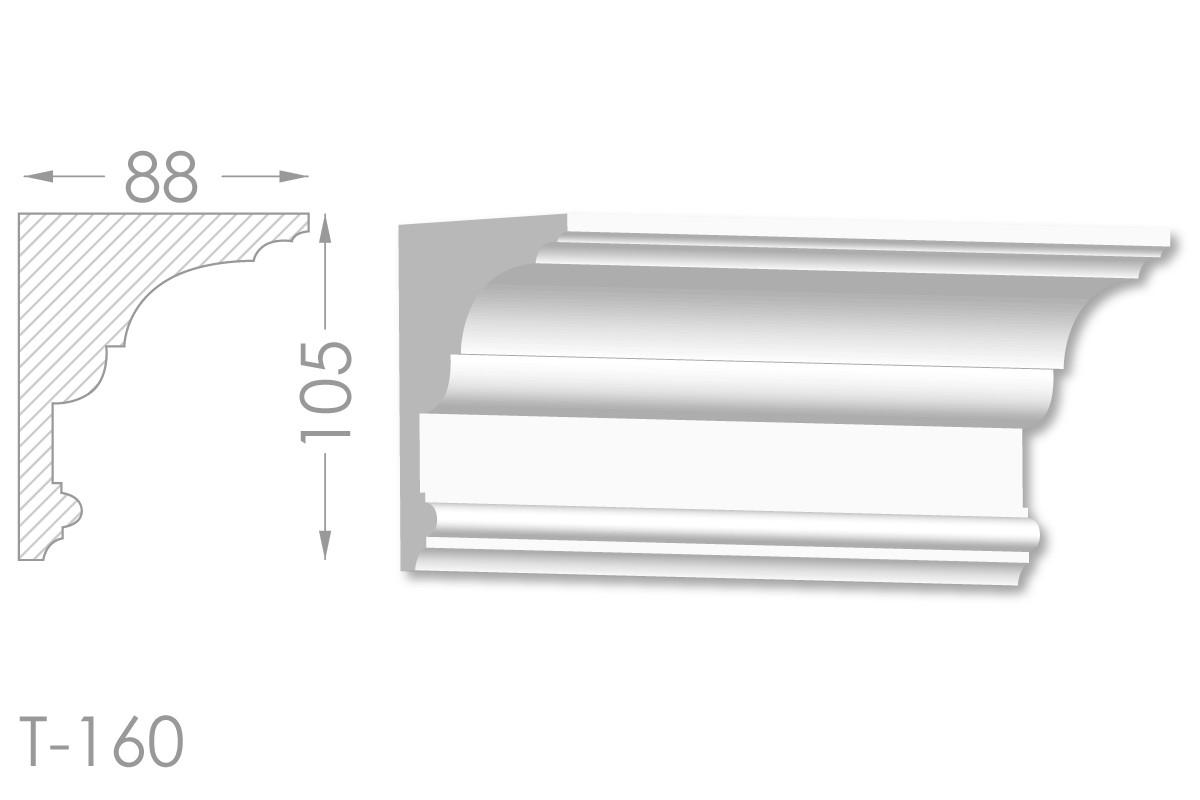 Карниз с гладким профилем, молдинг потолочный из гипса т-160