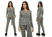 Женский теплый костюм в клетку пиджак + брюки