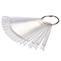 Палитра-веер для лаков и гель-лаков на кольце 50 шт прозрачная
