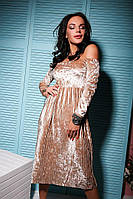 Бархатное платье с открытыми плечами и длиной ниже колена 113152