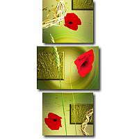 Вертикальная модульная картина КРАСНЫЕ МАКИ из 3 частей