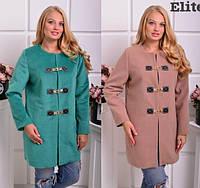 Женское кашемировое демисезонное пальто большого размера 20281