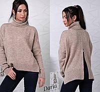 Женский свободный свитер с высокой горловиной и молнией сзади 122455
