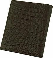Мужской надежный кожаный бумажник с тиснением под кожу крокодила Traum 7110-41 темно-коричневый