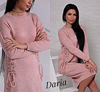 Вязаное свободное платье со шнуровками по бокам 113169