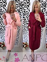 Женское кашемировое пальто ниже колена под пояс 560217