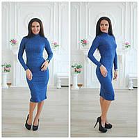Повседневное платье с высоким воротником и длиной миди 113180