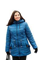 Женская куртка большого размера осень-весна с капюшоном 54-72рр синий