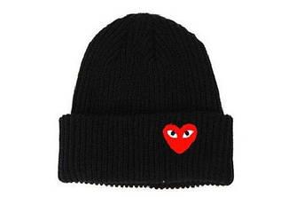 Зимова шапка чорна з сердечком Comme des Garcons Play в стилі унісекс чоловіча жіноча