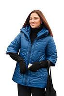 Женская куртка, рукав 3/4, большого размера осень-весна 54-72рр синий