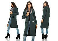 Кашемировое женское пальто с отделкой мехом