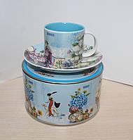 """Фарфоровая кофейная чашка с блюдцем """"Магнолия"""" Lefard 110 мл 356-132"""