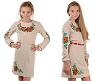 """Детское платье-вышиванка """"Цветы"""" (бежевое)"""