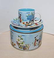 """Фарфоровая кофейная чашка с блюдцем """"Гортензия"""" Lefard 110 мл 356-130"""