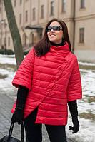 Женская куртка, рукав 3/4, большого размера осень-весна 54-72рр красный