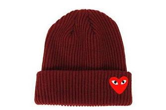 Зимова шапка темно-червона з сердечком Comme des Garcons Play в стилі унісекс чоловіча жіноча