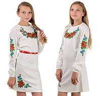 """Детское платье-вышиванка """"Цветы"""" (белое)"""
