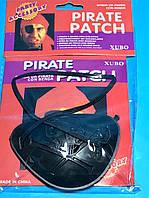 Пиратская Повязка на Глаз Черная Пластиковая с Рисунком Череп и Кости