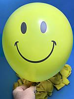 Шары Воздушные Надувные Шарики Желтые с Рисунком Смайл Улыбка