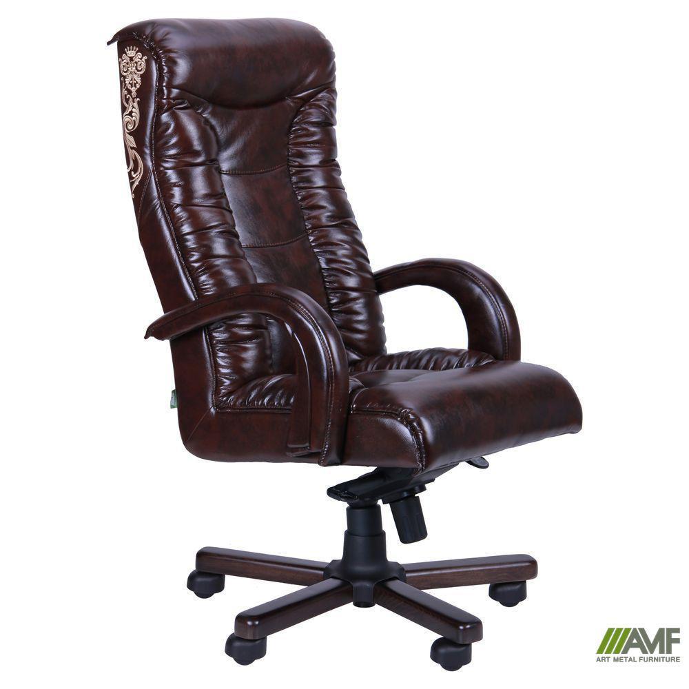 Кресло руководителя Кинг LUX, механизм МВ с вышивкой, TM AMF