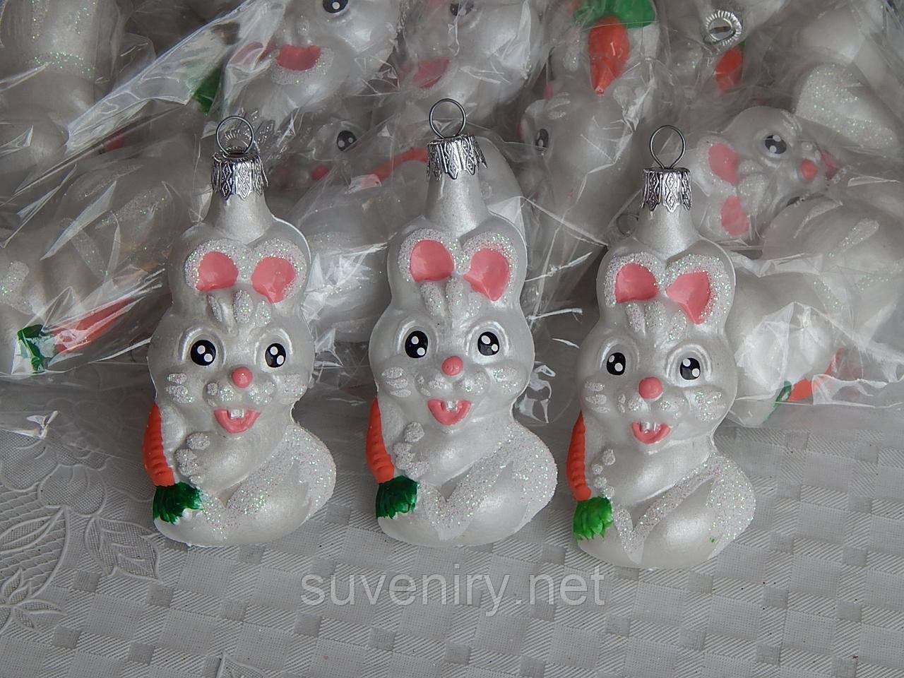Елочная новогодняя игрушка фигурка заяц