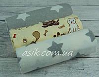 Набор фланелевых пелёнок для новорожденных из 3-х штук собачки и звезды (Польша)