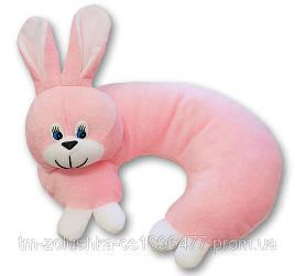 Мягкая игрушка Подушка Рожок заяц розовый