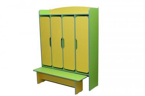 Шафа для роздягальні 4-дверний з лавкою