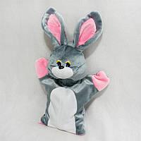 Мягкая игрушка рукавичка для конфет Заяц Снежок серый